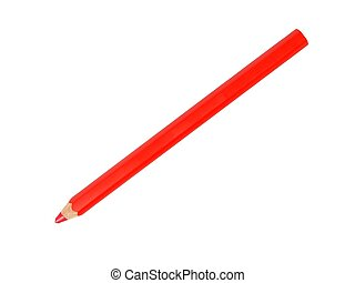 Red pencil - Red colored pencil isolated on white...