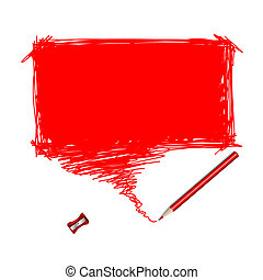 Red pencil scribble with word bubble