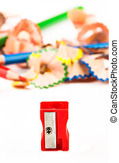 Red pencil sharpener.