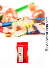 Red pencil sharpener.
