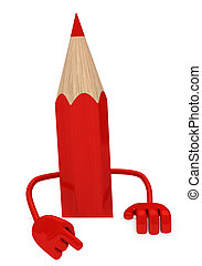 red pencil - big red pencil pointed finger behind wall