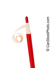 red pencil isolated on white