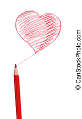 Red pencil, the heart