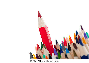 Red pencil - the leader. It is isolated on a white...