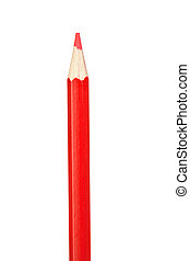 Red pencil vertically isolated on white background