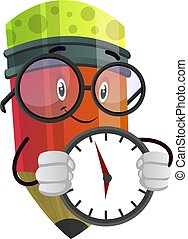 Red pencil with a clock in his hands illustration vector on white background