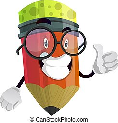 Red pencil with glasses giving a thumbs up illustration vector on white background