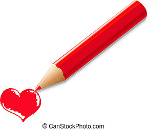 Red Pencil With Heart
