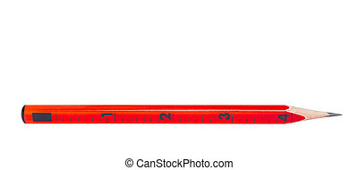 Red pencil with ruler isolated on white background