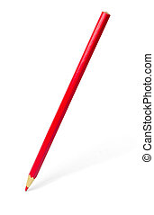 Red pencil with shadow isolated on white