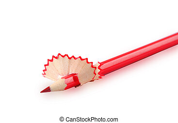 Red pencil with shavings