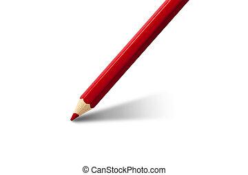 Red pencil writing blank white sheet