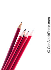 Red pencils isolated on white background