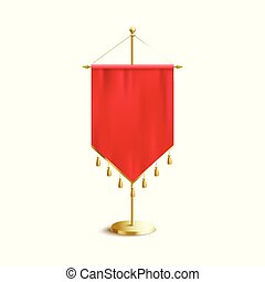 Red pennant with golden tassels on rack 3d vector mockup illustration isolated.