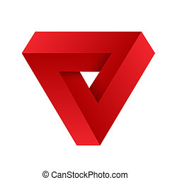 Red penrose triangle. Geometric 3D object optical illusion. Vector illustration.