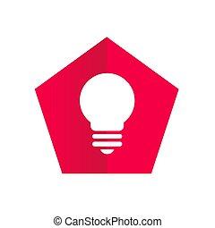 Red Pentagon With Lightbulb Icon - Logo Design
