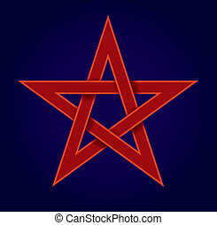 pentagram (pentalpha, pentangle, star pentagon) - the shape of a five-pointed star drawn with five straight strokes