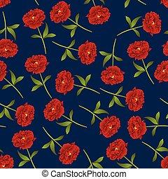 Red Peony Seamless on Indigo Blue Background