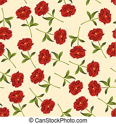 Red Peony Seamless on Ivory Beige Background