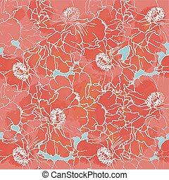 Red peony seamless pattern.