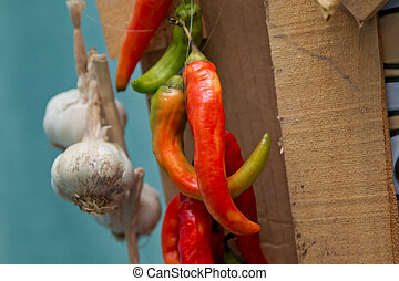 Red pepper and garlic. hot peppers