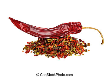 Red pepper and mixture of dry peppers on a white background