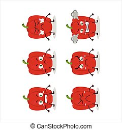 Red pepper cartoon character with various angry expressions