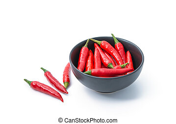 red pepper in a bowl isolated on white background