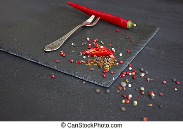 Red pepper on a fork