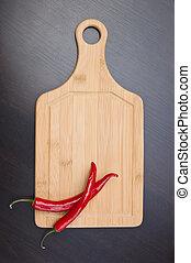 red pepper on cutting board