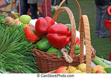 red pepper on rural market
