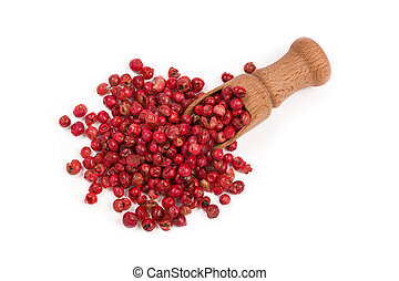 red peppercorns isolated on white background