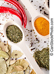 red peppers and other kind of spices in spoons