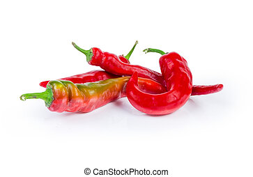Red peppers chili on a white background