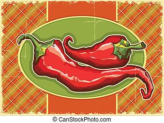 Red peppers on vintage label background.Vector illustration