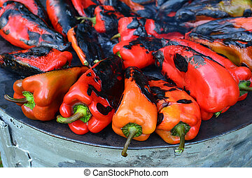 Red peppers roasting