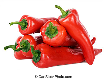 red peppers with a green pod on a white background