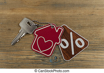 red percent sign and model house with key on wooden background . real estate concept. Top view