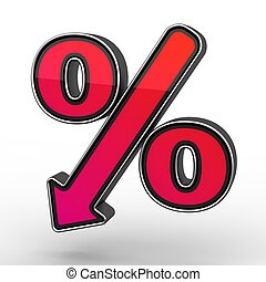 Red Percent Sign Denoting a Decrease