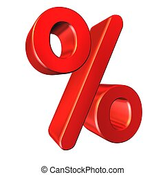 Red percent sign isolated on white background