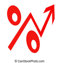 Red percent sign on white background