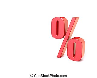 Red percentage sign. 3D
