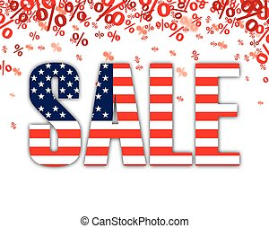 Red Percents USA Sale - Red percents confetti with text Sale...