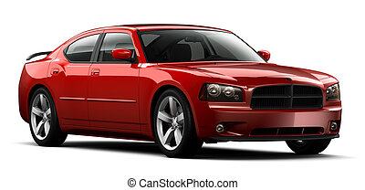 Red perfomance car on a white background