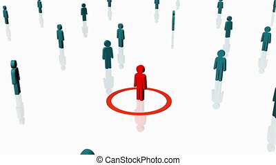 Red person surrounded by others - Human Resources - Worker -...