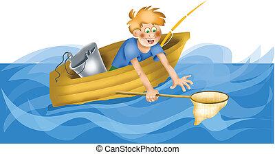 red, pescador, caricatura, aterrizaje