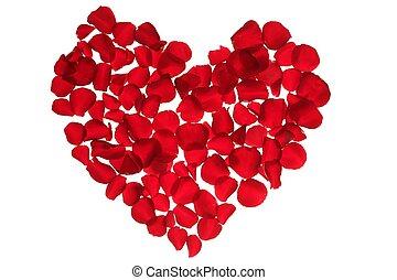 Red petals heart, valentines flowers metaphor - Red petals...