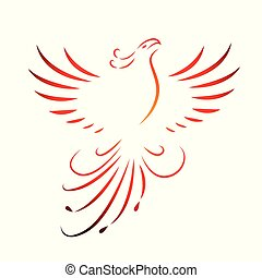 red phoenix rising wings line drawing isolated on a white background