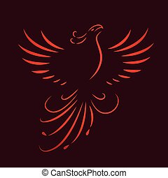 red phoenix rising wings line drawing