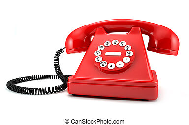 Red phone - 3d illustration of red old-fashioned phone on...